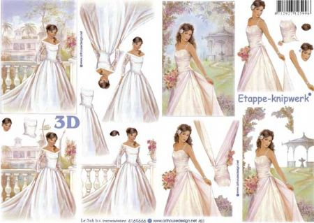 Beautiful Bride Wedding Design 3d Decoupage Sheet